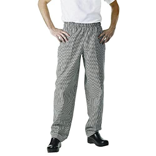 Chef Works NBCP Small Checks Basic Baggy Chef Pants, Large, Black/White