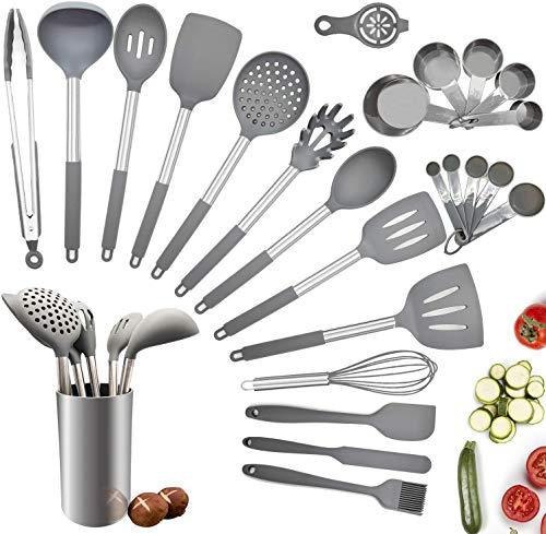 Juego de utensilios de cocina, 25 piezas de silicona para cocinar, juego de...