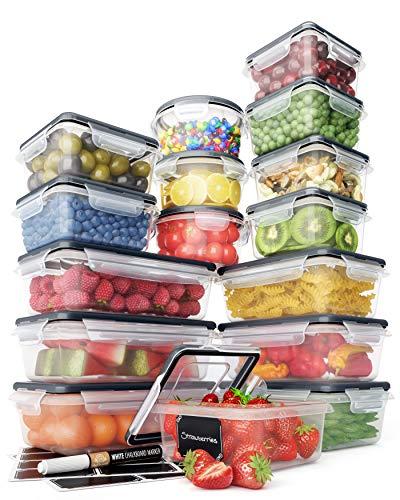 Juego Recipientes Herméticos de Plástico Almacenamiento Alimentos – Tapas...