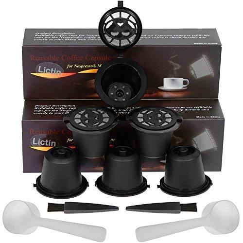 Lictin Pack de 6 Cápsulas Filtros de Café Recargable Reutilizable para...