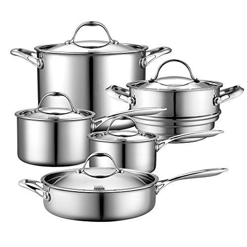 Cooks Standard Batería de cocina de 10 piezas con varias capas, acero...