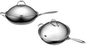 sartén wok de acero inoxidable