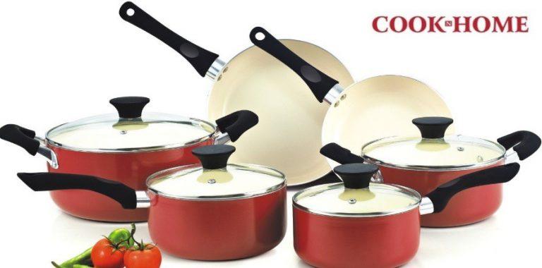 batería de cocina cook n home cerámica 10 pzas