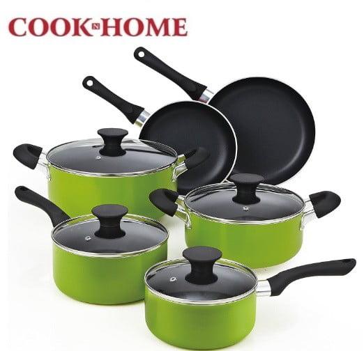 batería de cocina cook n home 10 pzas color verde